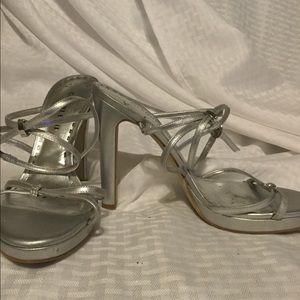 Gianni Bini Silver w/ crystals Strappy Sandal.